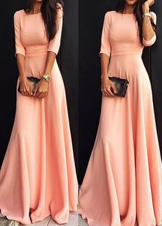 Gorgeous Pink Long Sleeve Maxi Dress