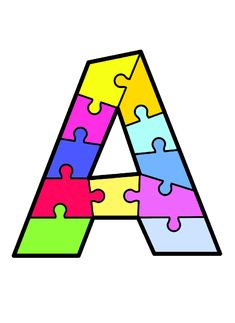 Puzzle Piece Crafts, Puzzle Art, Toddler Learning Activities, Activities For Kids, Alphabet Templates, Alphabet Pictures, Preschool Coloring Pages, School Clipart, Special Education