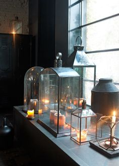 Beautiful array of simply glass lanterns. Would love to see Candle Impressions Flameless Candles here- going flameless is the best way to protect & preserve your beautiful lanterns!