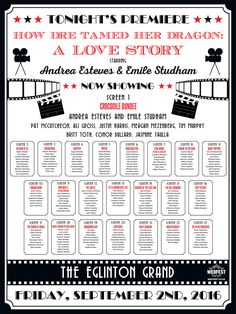 movie names wedding table and seating planner http://www.wedfest.co/cinema-and-movie-themed-wedding-stationery/