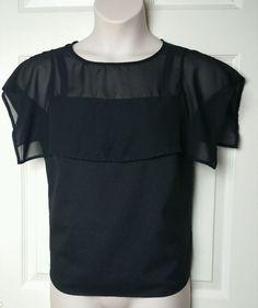 Covington Black Sheer Blouse Sz Small S Loose Opened Short Sleeve Tunic Top #Covington #Blouse #Careercasual