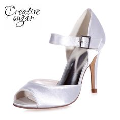 aac849ae60 Creativesugar satin high heel stiletto mary jane peep toe shoes D'orsay  woman pumps wedding party dress shoes with buckle strap