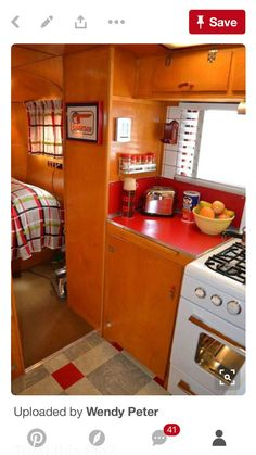 I'm looking at the Spartan red Formica Camper Caravan, Retro Campers, Diy Camper, Camper Trailers, Vintage Campers, Camper Ideas, Vintage Camper Interior, Airstream Interior, Trailer Interior