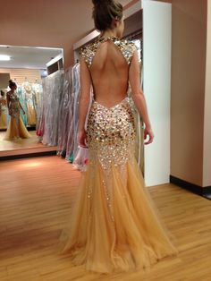 Open Back Tulle Evening Party Prom Pageant Dress Beading Formal Celebrity Gown