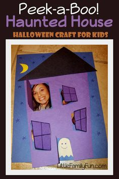 Peek-a-boo Haunted House. Halloween craft for kids.