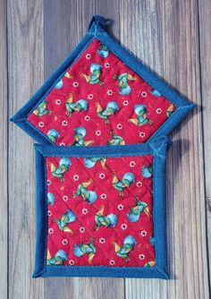 Pot Holders - Chickens in Red