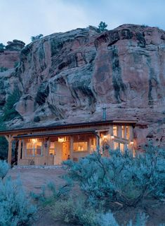 Canyon Culture: A House Built into a Rock Wall - - In Cortez, Colorado, the ultimate natural home incorporates a cliffside and celebrates a view of archeological significance. House On The Rock, Up House, Cliff House, Earth Sheltered Homes, Underground Homes, Colorado Homes, Unusual Homes, Earth Homes, Earthship