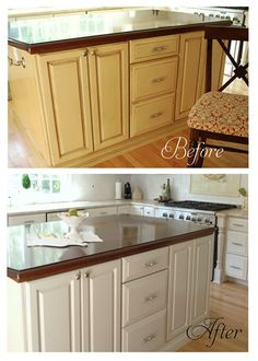 island before and after. step by step painting kitchen cabinets.