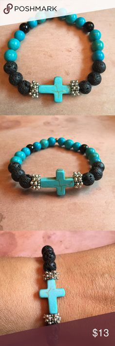 Aromatherapy Cross Bracelet Aromatherapy Bracelet made with Turquoise Howlite Cross charm, Turquoise Howlite beads, Lava stone and Natural beads, Use with your favorite Essential Oils. Apply a couple of drops to Lava Stone, will last up to a couple of day Beaded Jewelry, Silver Jewelry, Beaded Bracelets, Anklet Jewelry, Anklets, Stone Jewelry, Turquoise Jewelry, Turquoise Bracelet, Essential Oil Jewelry