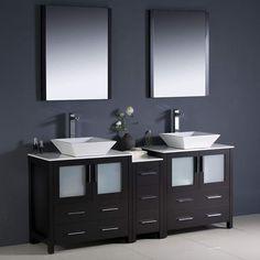 """Fresca Torino 72"""" Espresso Modern Double Sink Bathroom Vanity w/ Side Cabinet & Vessel Sinks"""