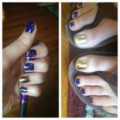Gold fleck on Navy nails & mirror metallic gol get them here http://wrapmynails2.jamberrynails.net/