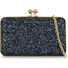 Sophie Hulme Eyes glitter box clutch ($580) ❤ liked on Polyvore featuring bags, handbags, clutches, glitter clutches, suede handbags, chain handle handbags, suede purse and box clutch