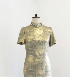 Beautiful Gold high neck evening gown, with beaded neck detail. Size 12 Uk, Summer Outfits Women, Mandarin Collar, Evening Gowns, Short Sleeve Dresses, Clothes For Women, Trending Outfits, Womens Fashion, Gold