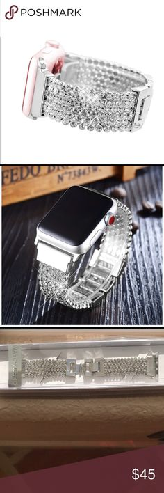 Apple Watch Band 42mm Crystal Chain Strap NWT Replacement band for Series 0 1 2 and Version 2015 2016, Silver. New in Box. Extra links and pins included. REPLACEMENT BAND ONLY FOR SALE NOTAPPLE WATCH Accessories Watches