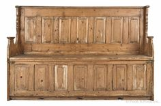 """English pine settle bench, 18th c., with fold out hired man's bed, 49"""" h., 73"""" w."""