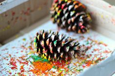 pine cone painting for kids