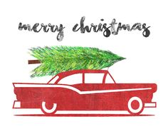 Vintage Sign-Old Car with Christmas Tree-700px