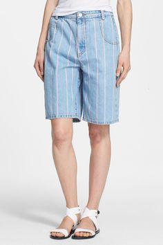 Stripe Jean Skater Shorts