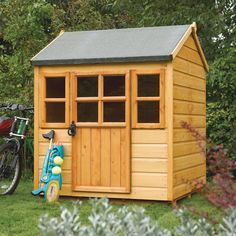This really impressive Rowlinson Little Lodge Traditional Kids Wooden Playhouse resembles a typical shed. Visit Shedstore for our fantastic range of playhouses and more. Kids Wooden Playhouse, Garden Playhouse, Playhouse Outdoor, Playhouse Ideas, Back Gardens, Small Gardens, Tongue And Groove Cladding, Buy Shed, Shiplap Cladding