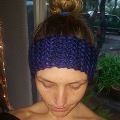 """Rockin' a high """"dancer bun"""" dawning my newest creation! EARWARMER headband. Custom orders and color requests are WELCOME! Purple is my personal fave."""