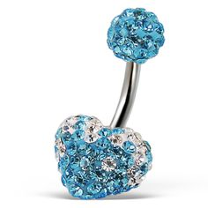 Crystal Stone #Aquamarine Belly Button Ring In Crystal Heart Design Fashion Jewelry for Women