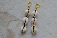 Cowrie Shell Earrings  Long Dangle Earrings by ZenCustomJewelry, $16.00