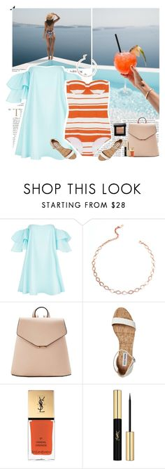 """""""Untitled #3113"""" by helena99 ❤ liked on Polyvore featuring Claudie Pierlot, Luv Aj, MANGO, Yves Saint Laurent, Bobbi Brown Cosmetics, sandals, swimwear and offshoulderdress"""
