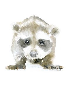 Baby Raccoon watercolor giclée reproduction. Portrait/vertical orientation. Printed on fine art paper using archival pigment inks. This quality printing allows over 100 years of vivid color in a typic