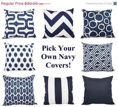 15% OFF SALE Two Navy Pillow Covers - Decorative Pillows - 18 x 18 Inch Navy Blue Throw Pillow Cover - Decorative Pillow Cushion Cover Navy