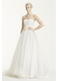 David's Bridal $500 Strapless Ruched Bodice Tulle Ball Gown MK3576