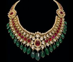 Indian Jewellery Designs - polki, emarald and rubies with pearl combo. Stunning!