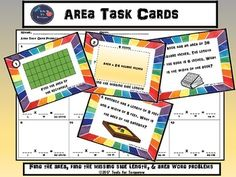 This product makes a great lesson, math center, independent enrichment or review of area. Task cards include the skills of finding the area of a rectangle, finding the missing side length, and area word problems.Included in this product are: 12 area task cards, an area reference sheet to use as needed, a student recording sheet for work space/answers, and an answer key.Enjoy!Tools for Tomorrow