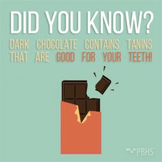 Dentaltown - Nothing spooky about this fact! Did you know dark chocolate, when eaten in moderation, is actually good for your teeth? Tannins not only give dark chocolate its slightly bitter taste, they also prevent cavities by inhibiting bacteria growth. The less processing the better, so snack on chocolate with no less than 70% cocoa. And obviously, brush well after eating treats!