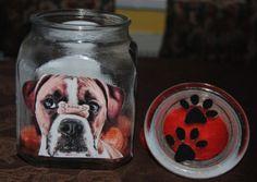 Dog Treat jars made with Modge Podge