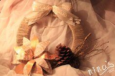 Christmas door wreath / Božićni vjenčić za vrata #InMagazin #beige #paper #simple #diy #Christmas #wreath #craft #ninascreativecrafts