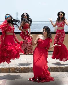 Being a bridesmaid is so much more than attending the bachelorette party and wearing coordinating dresses on the big day. Indian Bridesmaid Dresses, Indian Gowns Dresses, Indian Fashion Dresses, Dress Indian Style, Indian Designer Outfits, Ethnic Outfits, Indian Outfits, Indian Wedding Photography Poses, Indian Bridal Wear