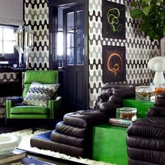 black, white, grey and green : boys bedroom