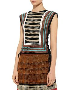 Red Valentino: Crochet Striped Cropped Knit Top (item view - 3):