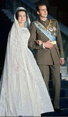 Nuptials: The King and Queen of Spain on their wedding day in Greece in 1962, Princess Sophia of Greece and Denmark and Prince Juan Carlos of Spain.