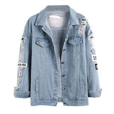 4c699db0a53a3e Light Blue Printed Ripped Denim Women Jackets