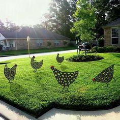 Verge, Cute Chickens, Made In America, Hens, Yard Art, Farmhouse Decor, Lawn, Outdoor Blanket, Backyard