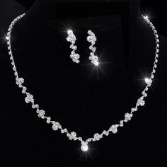 Silver Tone Crystal Tennis Choker Necklace Set Earrings Factory Price Wedding Bridal Bridesmaid African Jewelry Sets 14F3AF067