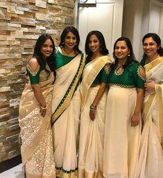Indian Long Dress, Dress Indian Style, Indian Dresses, Indian Outfits, Kerala Saree Blouse Designs, Saree Jacket Designs, Bridal Blouse Designs, Set Saree Kerala, Kerala Traditional Saree
