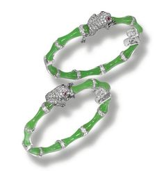 PAIR OF JADE AND DIAMOND EARRINGS, LYDIA COURTEILLE