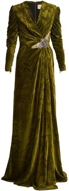 V-neck embellished velvet gown Gucci Pv1PbWT8Q