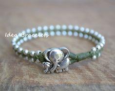 Elephant bracelet, Mommy Elephant & Kid Silver, Cute Beaded Bracelets, Green