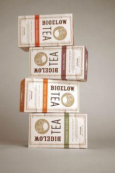 Elegant package design for tea company Bigelow.