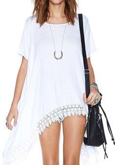 White Plain Short Sleeve Loose Dacron Mini Dress