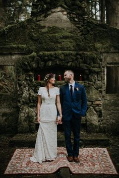 This elopement at Skamania Old Stone House features tons of candles, a smudging ceremony, and bridal style fit for the rugged Oregon forest.   Danielle wore a Short Sleeve Lace Sheath Wedding Dress by Galina available at David's Bridal   Jamie Jones Photography via Junebug Weddings