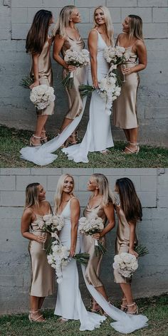 country champagne bridesmaid dresses, tea legnth bridesmaid dresses, spaghetti straps wedding party dresses for guest #dressywomen #bridesmaids #wedding #bride #longdresses #weddingideas #weddinginspiraton